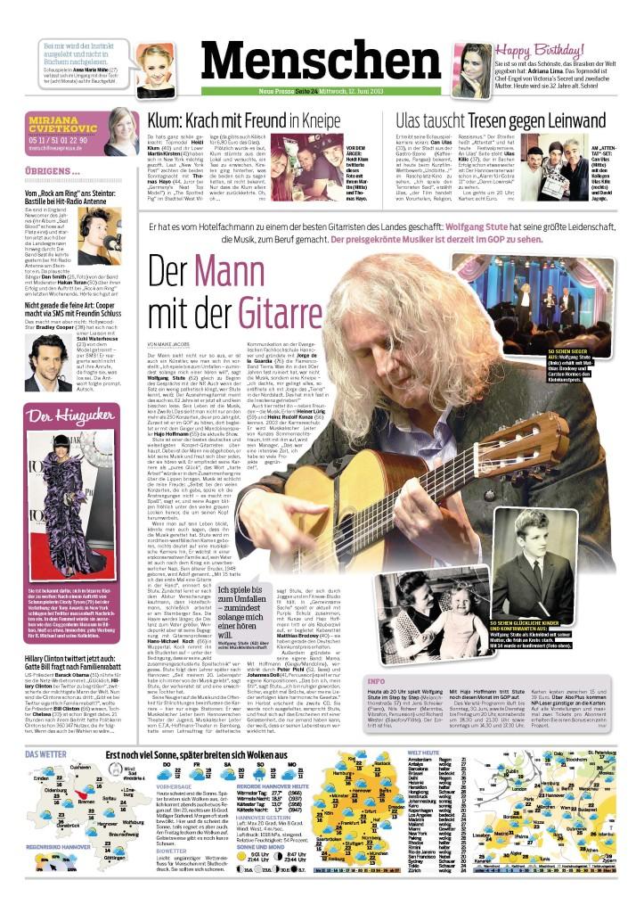 Zeitungsausschnitt Neue Presse Der Mann mit der Gitarre Wolfgang Stute