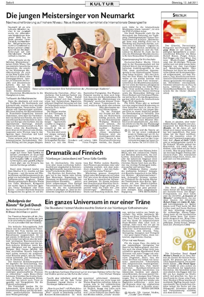 Zeitungsausschnitt Nürnberger Nachrichten Gitarrist, Percussionist, Komponist und Produzent