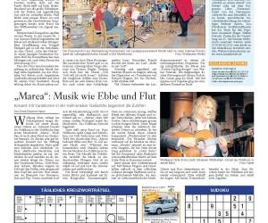 18. Juli 2011, Goslarsche Zeitung<br>Marea – Konzert mit Variationen in der Hahnenkleer Stabkirche