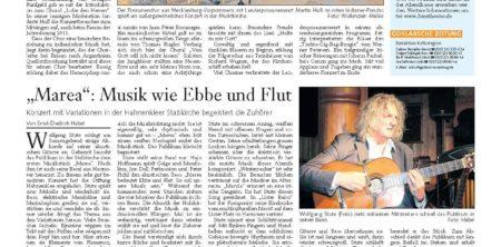 18. Juli 2011, Goslarsche Zeitung<br>Marea &#8211; Konzert mit Variationen in der Hahnenkleer Stabkirche