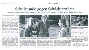 Zeitungsausschnitt IGS Linden/ Hannover Schulstunde für Schüchternheit