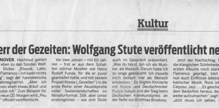 16. November 2013, NP, Herr der Gezeiten: Wolfgang Stute veröffentlicht neue CD