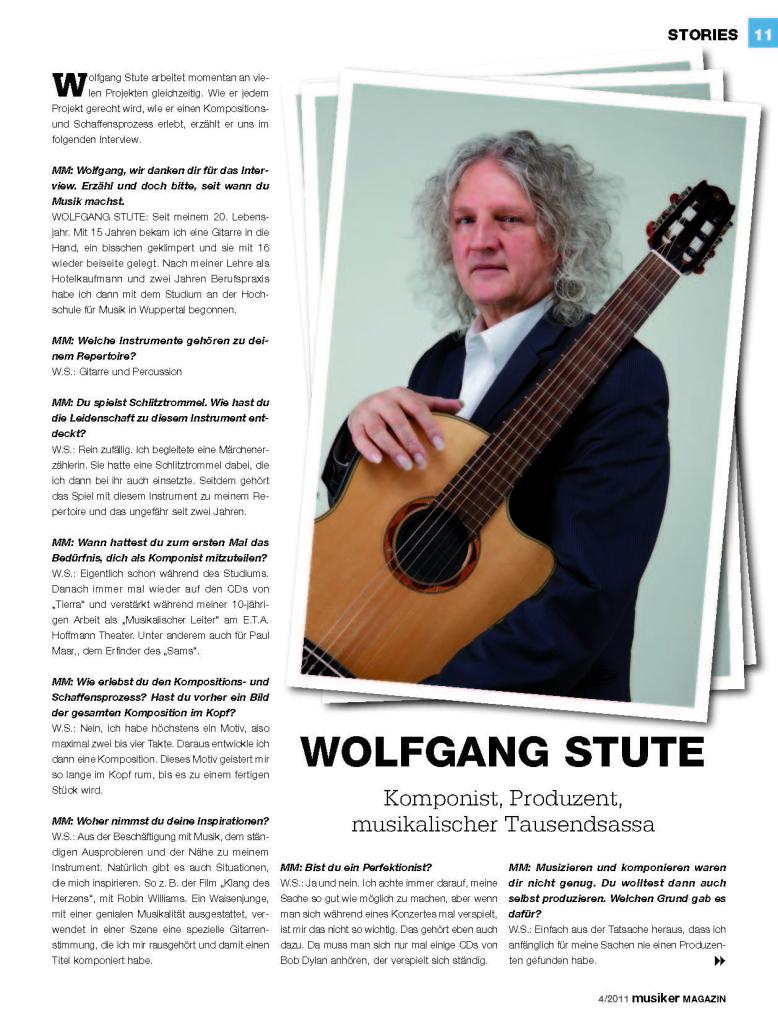 Ausschnitt aus Zeitschrift musiker MAGAZIN Interview mit Wolfgang Stute