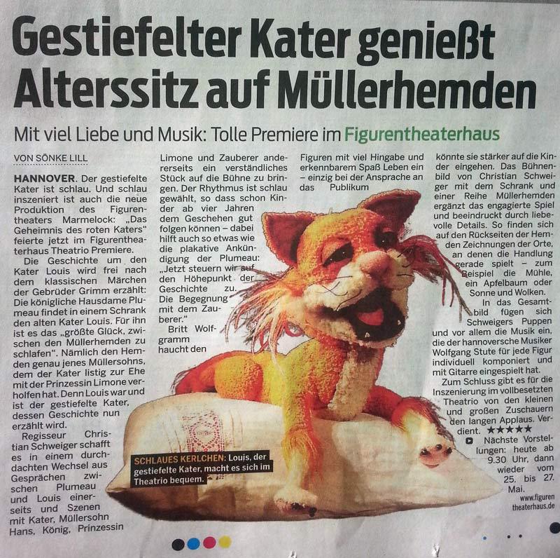 Zeitungsausschnitt Neue Presse Gestiefelter Kater genießt Alterssitz auf Müllerhemden