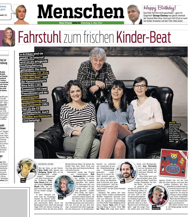 Zeitungsausschnitt Neue Presse Eule findet den Beat
